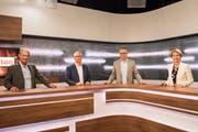 Live-Sendung auf TVO: Kurt Egger, Ueli Fisch, André Moesch (Moderator und Leiter TVO), Brigitte Häberli-Koller. (Bild: Adriana Ortiz Cardozo)