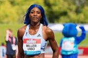 Olympiasiegerin Shaunae Miller-Uibo für einmal in blau. (Bild: Vickie Flores/EPA, 18. August 2019, Birmingham)