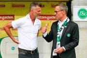 St.Gallens Sportchef Alain Sutter und Präsident Matthias Hüppi. (Bild: Marc Schumacher/Freshfocus)