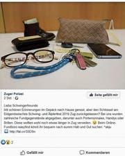 Mit diesem Facebook-Beitrag informierte die Zuger Polizei über die Esaf-Fundgegenstände. (Bild: Screenshot)