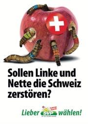 Das Apfel-Plakat der SVP, das für einen Aufschrei sorgte. (Bild: SVP)