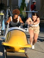 Michaela Koch (vorne) und Sprinterin Salomé Kora hätten wohl auch als Bobfahrerinnen Erfolg. (Bild: Urs Huwyler)