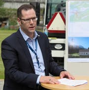 Werner Jauch, Vorsitzender der EWA-Geschäftsleitung, anlässlich des Spatenstichs für das KW Erstfeldertal. (Bild: PD, Erstfeld, 7. Mai 2019)