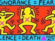Das Werk «Ignorance = Fear, Silence = Death» (1989) von Keith Haring ist Teil der Ausstellung «United by AIDS» im Migros Museum in Zürich. Sie dauert vom 31. August bis 10. November 2019. (Bild: Courtesy Keith Haring)