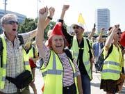 Die französischen «Gelbwesten» haben für einmal in Genf demonstriert. (KEYSTONE/Salvatore Di Nolfi) (Bild: KEYSTONE/SALVATORE DI NOLFI)