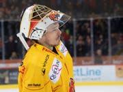 Der Bieler Goalie Jonas Hiller spielt nur noch die nächste Saison (Bild: KEYSTONE/MARCEL BIERI)