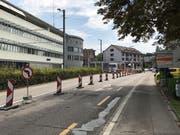 Die signalisierten Umleitungen bei der Baustelle St.Gallerstrasse/Marktstrasse. (Bild: Samuel Koch)