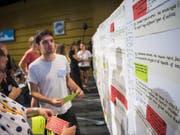 450 junge Aktivisten aus 38 Ländern nahmen am Klimagipfel in Lausanne teil. Zum Abschluss einigten sie sich auf drei Kernforderungen. (Bild: Keystone/JEAN-CHRISTOPHE BOTT)