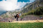 Hochstehender Schwingsport vor malerischer Kulisse: Das ist der Schwägalp-Schwinget. Bild: Melanie Duchene/Keystone (Schwägalp, 19. August 2018)