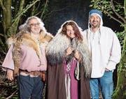 Freuen sich auf das dritte Zuger Mittelalterfest (von links): Marcel Arpagaus, Sandra Egger und Roger Theiler (OK-Präsident). (Bild: PD)