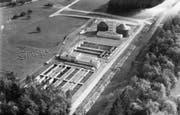 Luftbild von Nordwesten von Oktober 1970: die neue Kläranlage. Links oben die Haubitzenstrasse, damals noch Sackgasse. (Bild: PD)