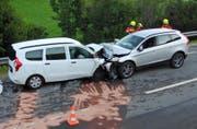 Die Unfallstelle in Sattel. (Bild: Kantonspolizei Schwyz)