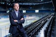 Patrick Lengwiler: «Wir werden mit der Stadt als Eigentümerin auch über die Bossard-Arena reden müssen.» Bild: Boris Bürgisser (Zug, 3. September 2019)