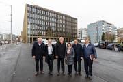 Der aktuelle Krienser Stadtrat (von links): Franco Fae Cyrill Wiget, Lothar Sidler, Judith Luthiger-Senn, Matthias Senn und Guido Solari. (Bild: Philipp Schmidli, 21. Dezember 2018)