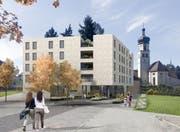 Der Spatenstich für das Haus Navan , das die Kirche Region Rorschach im Stadtzentrum bauen möchten, muss weiter warten. (Visualisierung: PD)