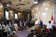 Ram Nath Kovind, der indische Präsident, bei seiner Rede am Freitag in der Wandelhalle. (Bild: Peter Schneider/Keystone)