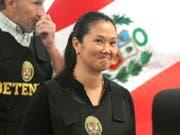 Soll Ende April 2020 aus der Untersuchungshaft freikommen: Perus Oppositionschefin Keiko Fujimori, Tochter des früheren Präsidenten Alberto Fujimori. (Bild: KEYSTONE/AP/MARTIN MEJIA)