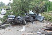 Beim Unfall wurden zwei Personen verletzt. (Bilder: Kapo TG)
