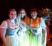 Die neue Miss Oktoberfest Veronica Martins (Bildmitte) umgeben von Céline Lutz (2. Rang) und Madelaine Zuber. (Bild: Christoph Heer)