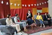 Von links nach rechts: Monika Scherrer, Barbara Gysi, Moderatorin Sybille Stillhart, Susanne Vincenz-Stauffacher, Franziska Ryser. (Bild: Ramona Riedener)