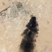 Ein Satellitenbild zeigt das Ausmass der Explosion. (Bild: Keystone)