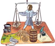 Der Eichmeister war für die Aufsicht über die Masse und Gewichte sowie für die regelmässige Kontrolle derselben zuständig. Diese Aufgabe hat ein Eichmeister auch heute noch. (Illustration: Janina Noser)