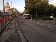 Die neue Strassenbaustelle auf Höhe des Leonhardpärkleins. (Bild: Reto Voneschen - 16. September 2019)