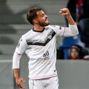 Ein Höhepunkt: Mariani bejubelt seinen Treffer in der Europa League gegen Viktoria Pilsen. (Bild: EPA)