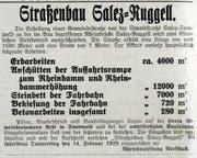 Zeitungsinserat vom 5. Februar 1929 betreffend Strassenbau zur Rheinbrücke.
