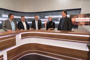 Im TVO-Studio: Alex Granato (SP), Josef Gemperle (CVP), Moderator André Moesch, Brigitte Kaufmann (FDP) und Manuel Strupler (SVP). (Bild: Lisa Jenny)