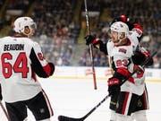 Jubel im Dress der Ottawa Senators: Tristan Scherwey erzielte in einem NHL-Vorbereitungsspiel den 2:1-Siegtreffer für Ottawa (Bild: KEYSTONE/AP The Canadian Press/JOE CHASE)