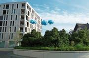 Die FDP Widnau macht mit Ballons auf das neue Planungs- und Baugesetz aufmerksam. (Bild: pd)