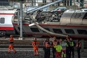 Der im März 2017 entgleiste Eurocity-Zug im Bahnhof Luzern. (Bild: Nadia Schärli)