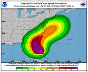 Die Farben zeigen die (prognostizierten) Windgeschwindigkeiten. (Bild: National Hurricane Center)