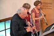 Das Oboen-Trio mit Heinz Holliger, Marie-Lise Schüpbach und Andrea Bischoff. (Bild: Romano Cuonz /Flüeli-Ranft / Sachseln 1. September 2019)