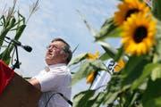 Alt SVP-Nationalrat Josef Kunz während einer Rede an der SVP-Bauern- Landsgemeinde in Grosswangen. (Bild: Philipp Schmidli, 4. August 2012)