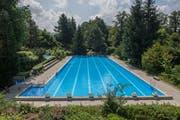 Blick auf das 50-Meter-Schwimmbecken in der Zimmereggbadi. (Bild: Boris Bürgisser, 2. Juli 2019)