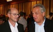 Die beiden neuen Verwaltungsräte Vitus Meier (links) und Walter Trösch im Gespräch. (Bild: Sepp Odermatt, Emmetten, 20. September 2019)