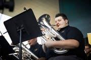 Das World Band Festival wurde vor dem KKL eröffnet. Hier ein Musiker der Black Dyke Band aus England. (Bilder: Jakob Ineichen, 21. September 2019)