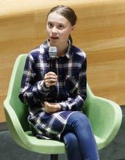 Klima-Aktivistin Greta Thunberg vor den Vereinten Nationen in New York. (Bild: Justin Lane/EPA)