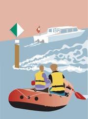 Motorschiffe müssen auf der grünen Seite der Schifffahrtszeichen den Rhein befahren. Freizeitkapitäne in Gummibooten sollten sich mit Abstand auf der weissen Seite treiben lassen. (Illustration: Selina Buess)