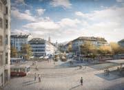 Das freigespielte Areal im Bereich Marktplatz und Marktgasse könne so für eine Bündelung des Wochen- und Bauernmarkts sowie für verschiedene Veranstaltungen genutzt werden, schreibt die Stadt St.Gallen in einer Medienmitteilung. (Bild: Visualisierung)