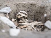 Bei Ausgrabungen in St-Maurice wurde ein Friedhof und eine Begräbniskirche freigelegt. (Bild: KEYSTONE/LAURENT GILLIERON)