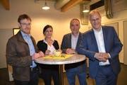Urs Spirig, Petra Vetsch und Andi Götz kandidieren für das Seveler Schulratspräsidium, Eduard Neuhaus (von links), für den Gemeinderat. (Bild: Adi Lippuner)