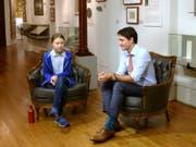 Die Klima-Aktivistin Greta Thunberg hat sich am Freitag mit dem kanadischen Premierminister Justin Trudeau getroffen. (Bild: KEYSTONE/AP The Canadian Press/RYAN REMIORZ)