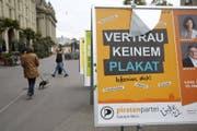 Grosszügige Wahlkampfspende: Plakat der Piratenpartei (Archivbild 2015). (Bild: Keystone)
