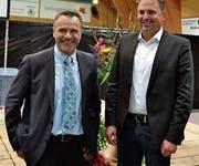 Die Referenten: Urs Schneider (links) und Nationalrat Marcel Dettling. Bild: Peter Jenni