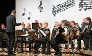 Das Akkordeon-Orchester Uzwil bei seinem Jahreskonzert im Gemeindesaal Uzwil. Bild: Christof Lampart