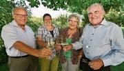Felix Kressig, Susanne Rüegsegger (geb. Siegenthaler), Doris Zimmer und Karl Bürge treffen sich an jedem 3. September. Bild: Manuel Nagel