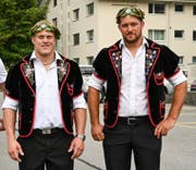 Die beiden Eidgenossen Lutz Scheuber (links) und Marcel Mathis geben am Allweg-Schwinget ihren Abschied. (Bild: PD)